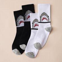 2 Paare Shark Muster Socken
