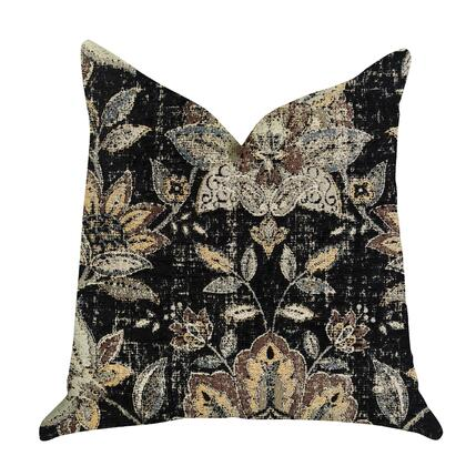 Onyx Collection PBRA1335-2424-DP Double sided  24 x 24 Plutus Noir Lotus Blossom Luxury Throw