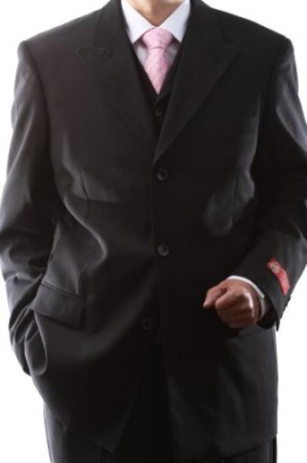 Mens Superiors Extra Fine Black 3 pcs Vested Suits with Peak Lapel