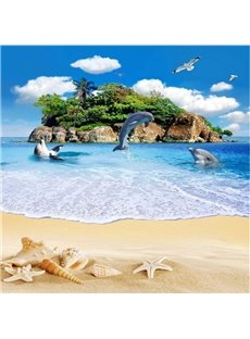 European Style Blue Sky and Dolphins Playing by the Sea Pattern Splicing Waterproof Custom Size 3D Floor Murals