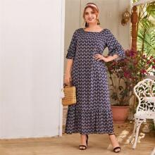 Plus Flounce Sleeve Tribal Print Dress