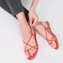 Faux Leather Square Toe Knotted Sandals