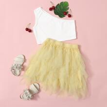Girls One Shoulder Top & Asymmetrical Mesh Skirt Set