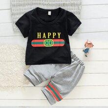 Kleinkind Jungen T-Shirt mit Buchstaben Grafik und Shorts mit Streifen Band