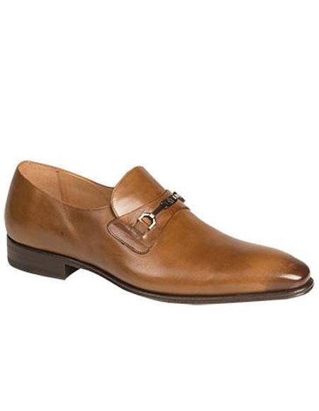 Mens Tan Metal Bit Italian Calfskin Slip-on Loafers Shoes Mezlan Brand