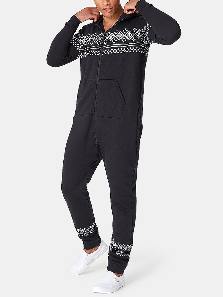 Men Thick Hooded Ethnic Print Jumpsuits Paisley Warm Zipper Down Onesies