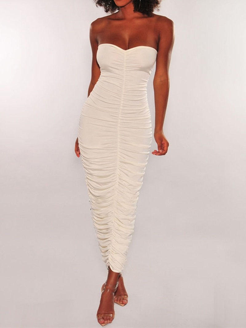 Ericdress Sleeveless Mid-Calf Pleated Off Shoulder Mid Waist Dress