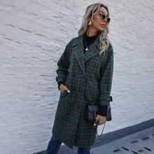 Zweireihiger Mantel mit Karo Muster und Reverskragen