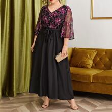 Plus Floral Print Maxi Belted Dress