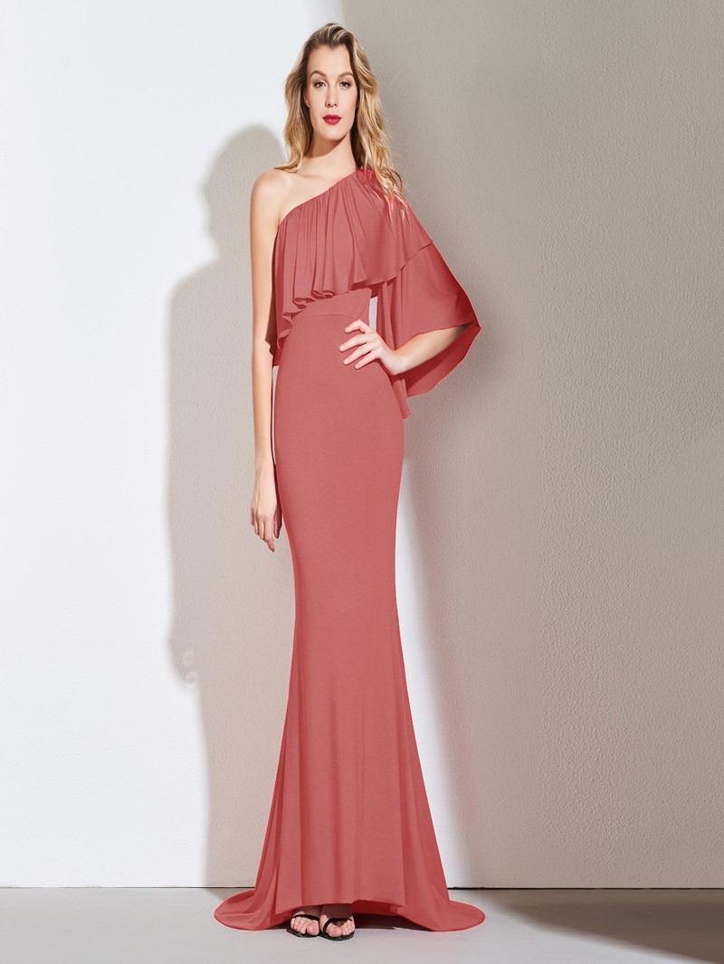 Ericdress One Shoulder Red Mermaid Evening Dress