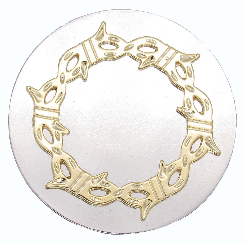 Round Knob with Barbed Wire, Nickel/Gold