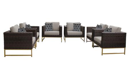 Barcelona BARCELONA-06w-GLD 6-Piece Patio Set 06w with 6 Club Chairs - 1 Beige Cover with Gold