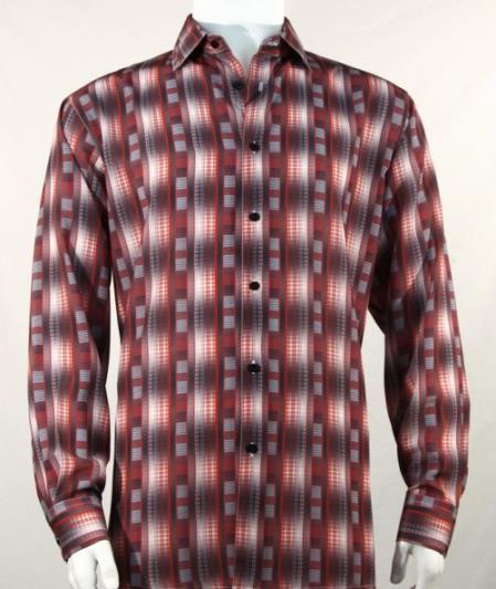 Full Cut Long Sleeve Pattern Stripe Burgundy Fashion Shirt