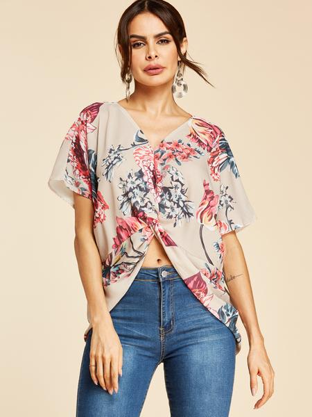Yoins Khaki Twist Floral Print V-neck Short Sleeves Blouse
