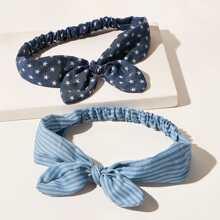 2pcs Star & Striped Pattern Bow Decor Headband