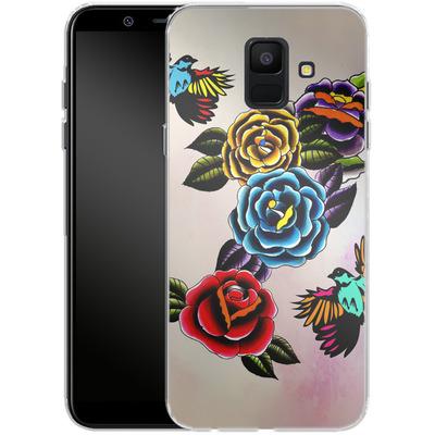 Samsung Galaxy A6 Silikon Handyhuelle - Tattoo Roses von Mark Ashkenazi