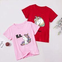 2 Stuecke T-Shirt mit Karikatur Einhorn und Buchstaben Grafik