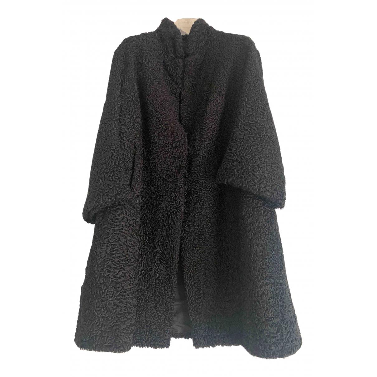 - Manteau   pour femme en astrakan - noir
