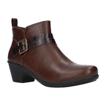 Easy Street Womens Hester Booties Block Heel, 9 1/2 Medium, Brown