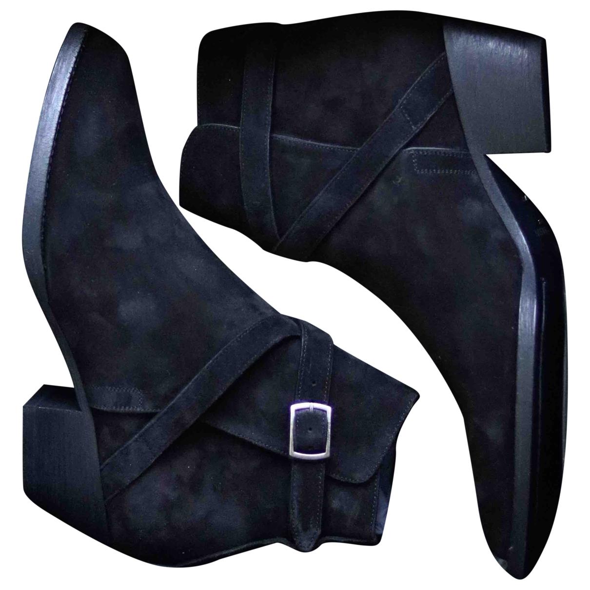 Saint Laurent Wyatt Jodphur Black Suede Boots for Men 43 EU