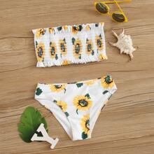 Maedchen Sunflower Print Smocked Bandeau Bikini Badeanzug