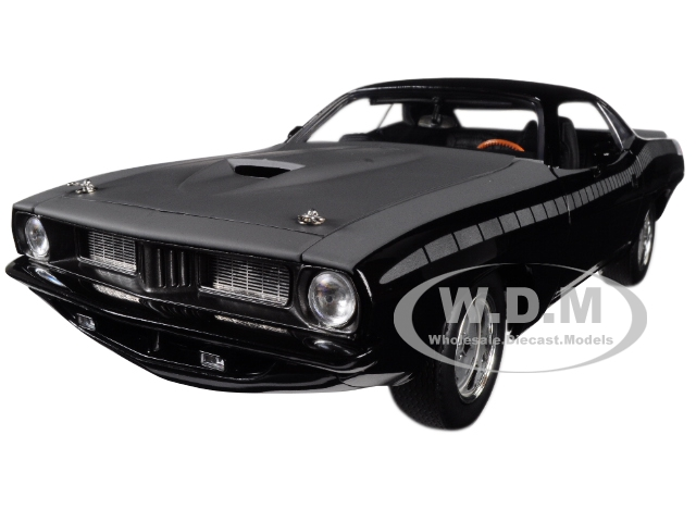 Lettys Custom Plymouth Barracuda Matt Black from Fast and Furious Fast 7 (2015) Movie 1/18 Diecast Model Car by Highway 61