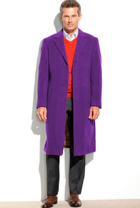 Mens 0.65 Wool length Notch Lapel Purple Over&Topcoat(Cashmere Touch)
