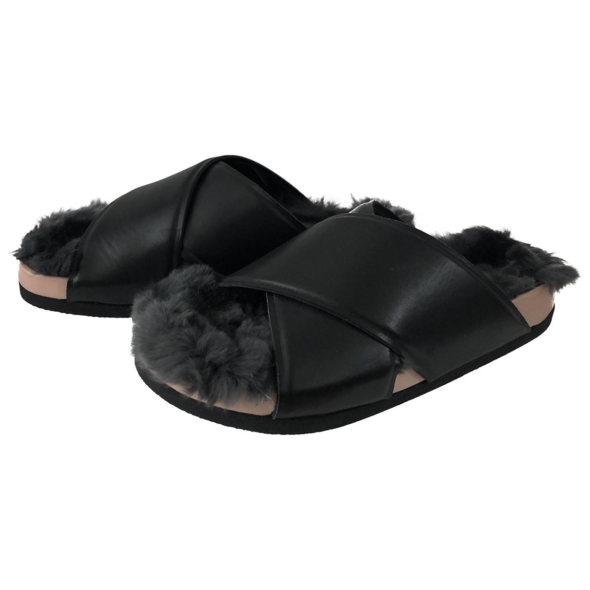 Celine - Sandales   pour femme en lapin - noir