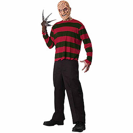 A Nightmare On Elm Street Freddy Krueger Mens Costume, One Size Fits Most , Red