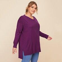 Plus V-neck Drop Shoulder Split High-low Hem Sweater