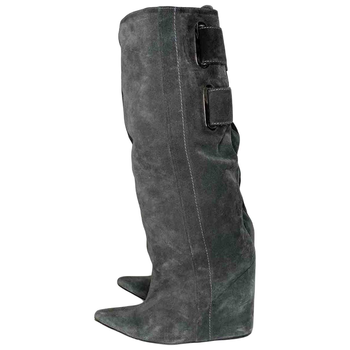 Balenciaga \N Stiefel in  Grau Veloursleder
