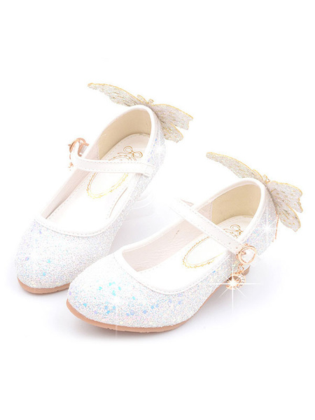 Milanoo Pink Pageant Shoes Sequined Round Toe Bows Party Shoes For Kids