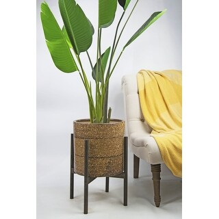 UPshining 13'' Extra Large Mid-Century Modern Ceramic Planter Rustic Brown With Wood Stands (Ebony)