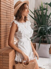 Eyelet Embroidered Ruffle Trim Belted Romper