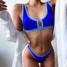 Bikini Badeanzug mit Kontrast Bindung und U Ausschnitt