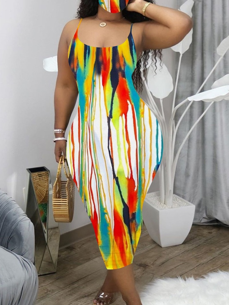 Ericdress Sleeveless Tie-Dye Mid-Calf Pullover Sexy Dress