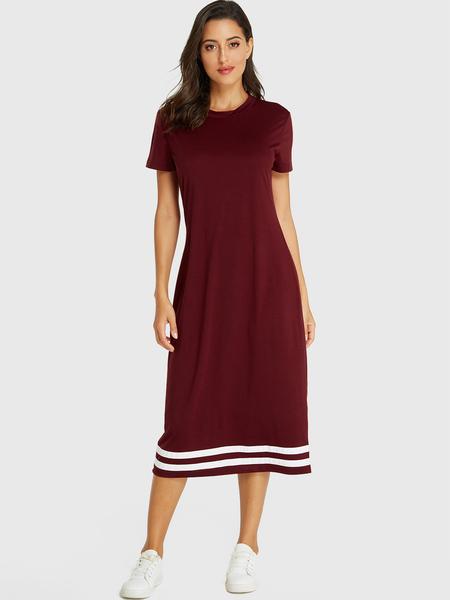 Yoins Burgundy Stripe V Neck Short Sleeves Dress