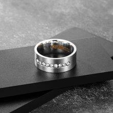 Maenner Ring mit Strass Dekor