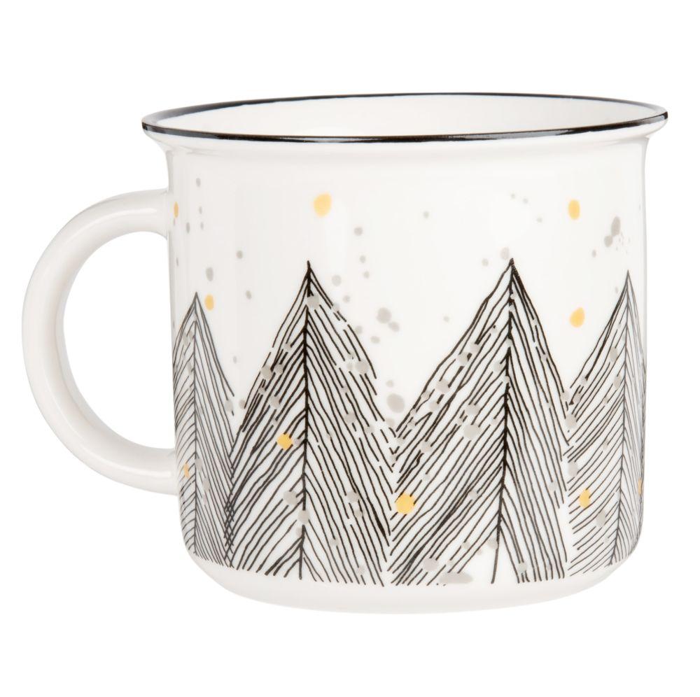 Kaffeebecher aus Fayence, weiss, bedruckt mit Tannenmotiv