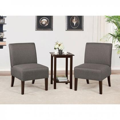 Elias Collection CM-AC6931DG 3 PC Armchairs and Accent Table Set with Tapered Legs  Open Bottom Shelf  Solid Wood Construction and Fabric-Like Vinyl