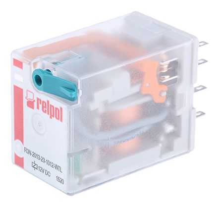 Relpol , 12V dc Coil Non-Latching Relay 3PDT, 10A Switching Current Plug In