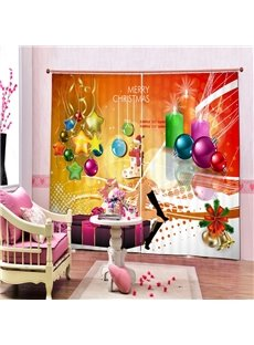 Colored Christmas Balls and Stars Printing Christmas Theme 3D Curtain