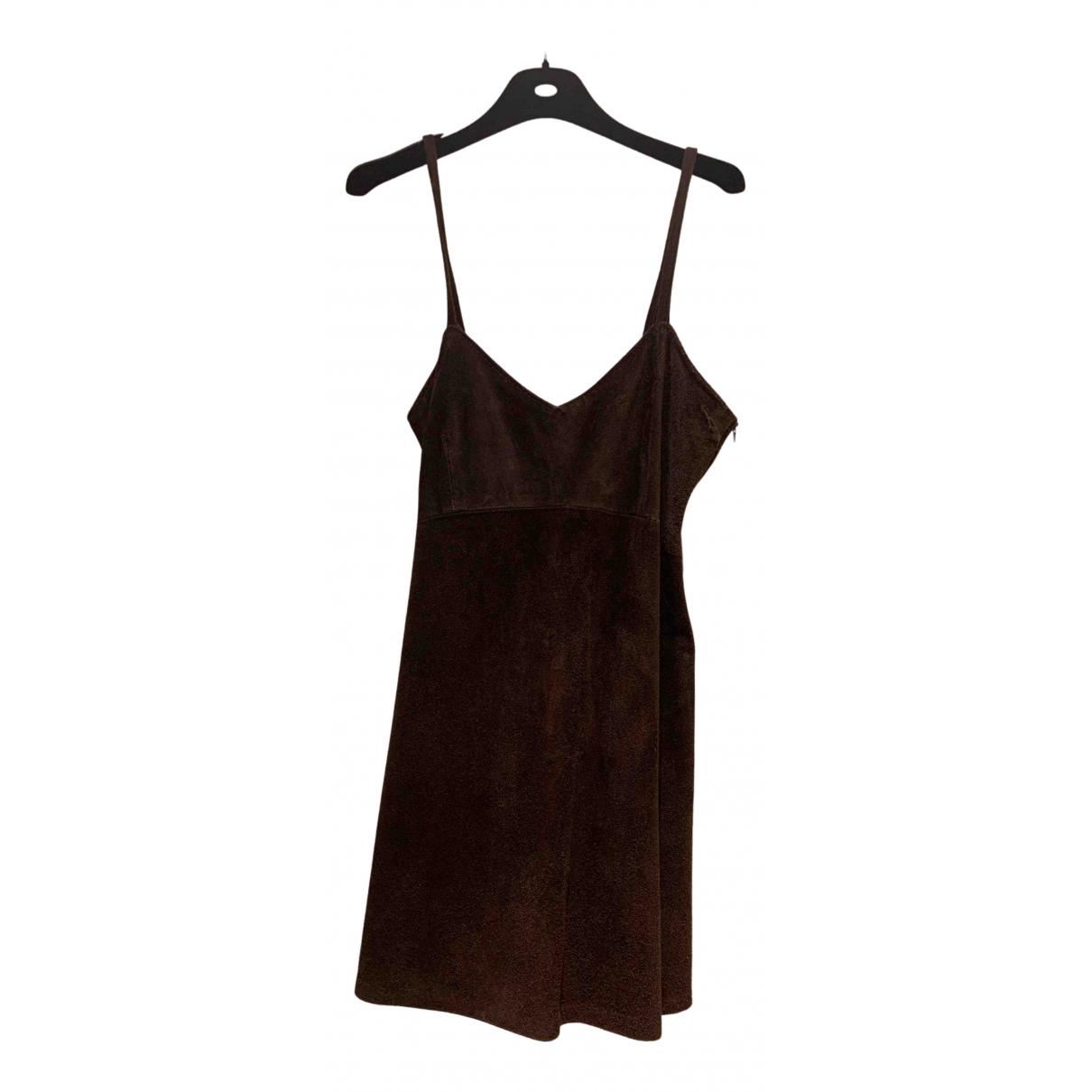 Non Signe / Unsigned \N Kleid in  Braun Veloursleder
