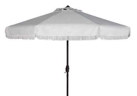 PAT8008C Milan Fringe 9Ft Crank Outdoor Push Button Tilt Umbrella in