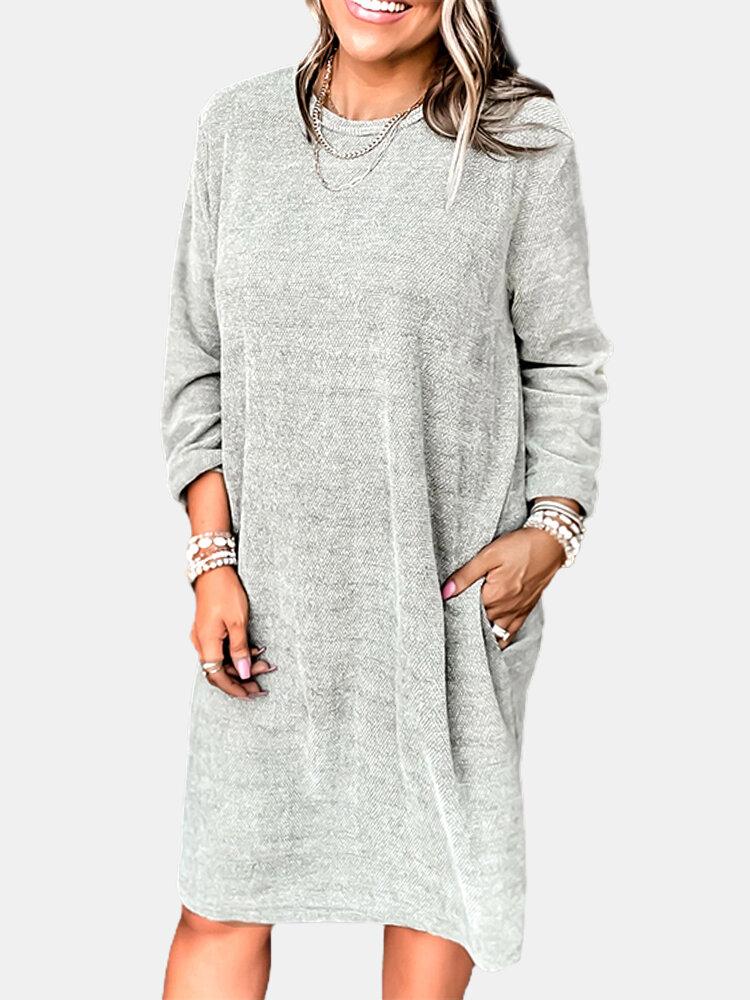 Solid Color Long Sleeve O-neck O-neck MidiFor Women