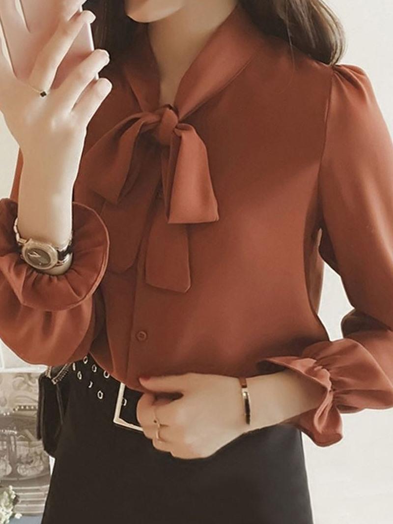 Ericdress Flare Sleeve Bowknot Long Sleeve Standard Blouse