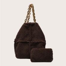 Bolsa tote con cadena de lana sintetica con monedero