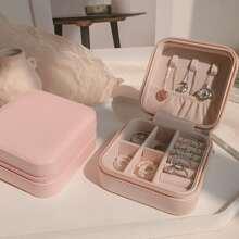 1 pieza caja de almacenamiento unicolor de joya