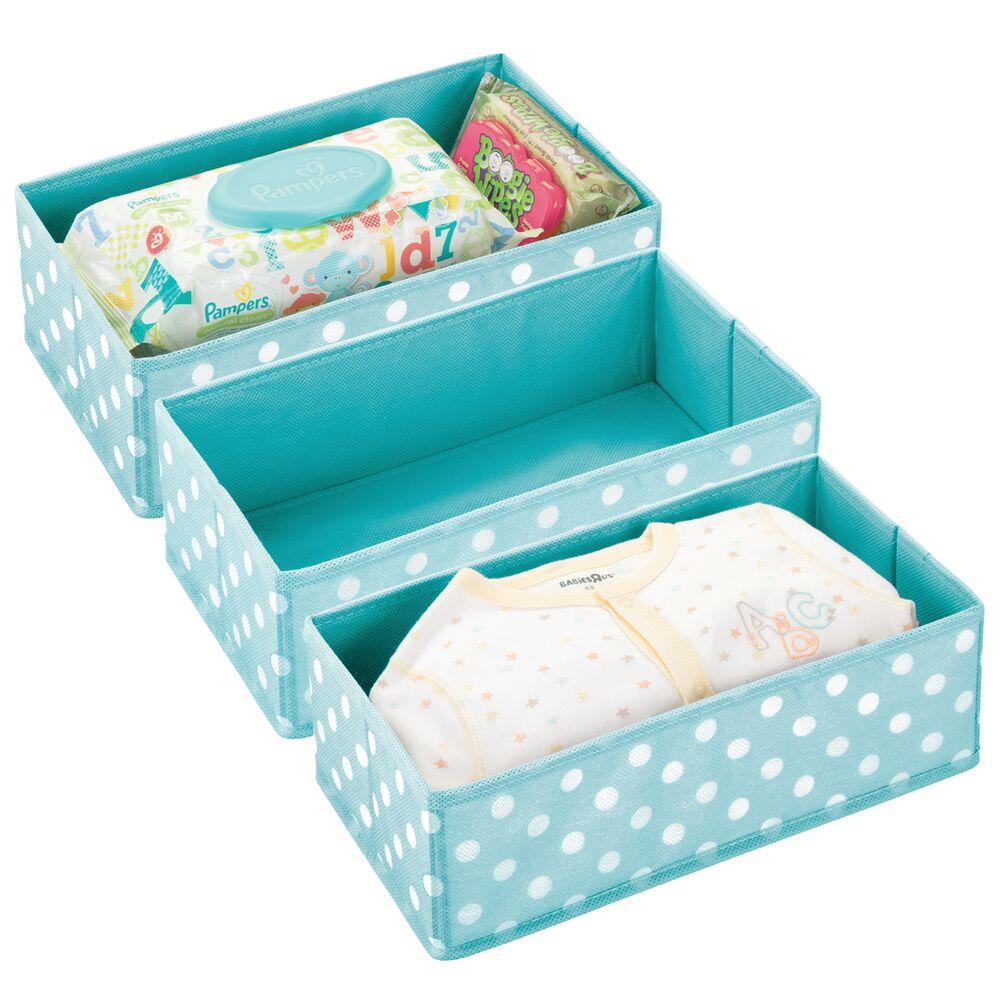 Kids Fabric Closet / Dresser Drawer Storage Organizer in Turquoise/White, 12