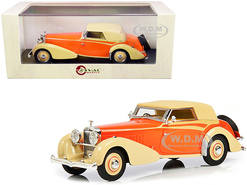 1934 Hispano Suiza J12 (Top Up) RHD (Right Hand Drive) by Carrosserie Vanvooren Cream and Orange Limited Edition to 250 pieces Worldwide 1/43 Model C
